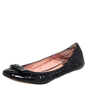 Christian Dior Black Patent Cannage Bow Ballet Flats Size 38.5
