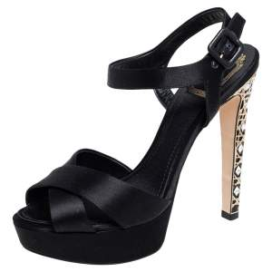 Dior Black Satin Crystal Cannage Heel Platform Sandals Size 38