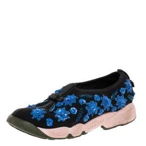 Dior Black/Blue Mesh Fusion Embellished Slip On Sneakers Size 36.5