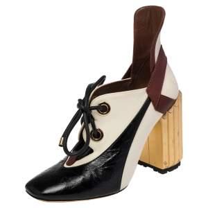 حذاء بوت كاحل ديور رباط غلوريوس كانفاس وجلد لامع ثلاثي اللون مقاس 40