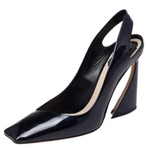 Dior Dark Blue Patent Leather Square Toe Slingback Sandals Size 39