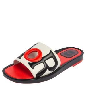 Dior Tri Color Leather Marina Flat Slides Size 37