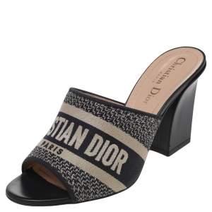 Dior Blue Canvas Dway Mule Sandals Size 36.5