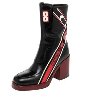 Dior Black/Red Leather Diorally Ankle Length Boots Size 37