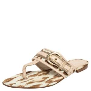Dior Beige Printed Canvas And Leather Flat Thong Sandals Size 36