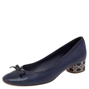 Dior Blue Leather Bow Detail Cannage Heel Pumps Size 38.5