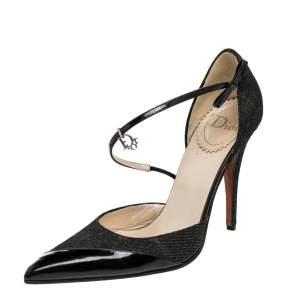 Dior Vintage Black Denim And Patent Leather D'orsay Pumps Size 39