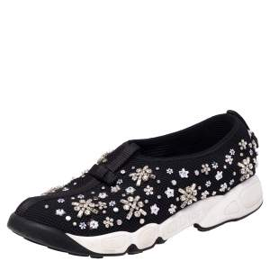 Dior Black Mesh Fusion Embellished Low-Top Sneakers Size 38.5