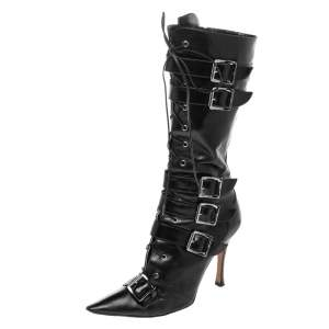 Dior Black Leather Buckle Calf Length Boots Size 37.5