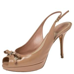 Dior Beige Leather Bow Peep Toe Slingback Sandals Size 39