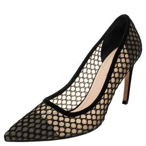 Christian Dior Black Fishnet And Suede Pointed Toe Pumps 41