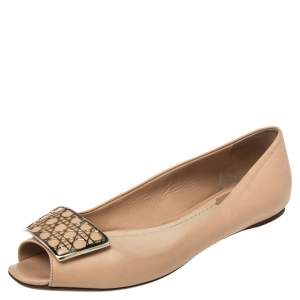 Dior Beige Leather Cannage Plaque Peep Toe Ballet Flats Size 36