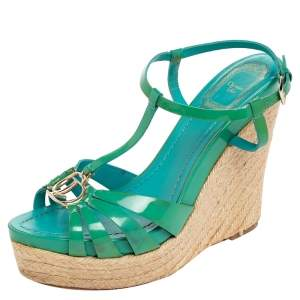 Dior Blue Patent Leather Strappy Wedge Sandals Size 38