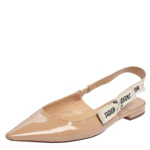 Dior Beige Patent Leather J'Adior Slingback Flat Sandals Size 40