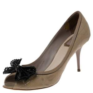 Dior Grey Patent Cannage Bow Peep Toe Pumps Size 40