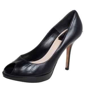 Dior Black Leather Miss Dior Peep Toe Pumps Size 37