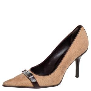 Dior Brown/Beige Suede and Leather Pointed Toe Pumps Size 37