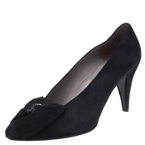 Dior Black Suede Bow Detail Pumps Size 40