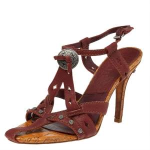 Dior Brown Leather Strappy Sandals Size 39