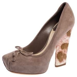 Dior Taupe Suede Bow Detail Block Heel Platform Pumps Size 36