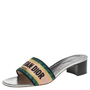 Dior Silver Canvas Embroidered Dway Sandals Size 38.5