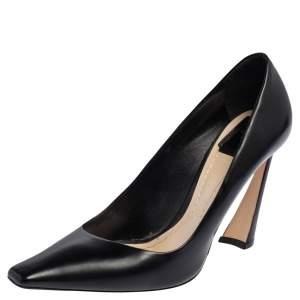 Dior Black Leather Square Toe Songe Pumps Size 39
