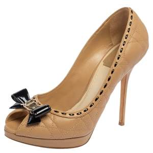 Dior Beige Cannage Leather Bow Peep Toe Pumps Size 37.5