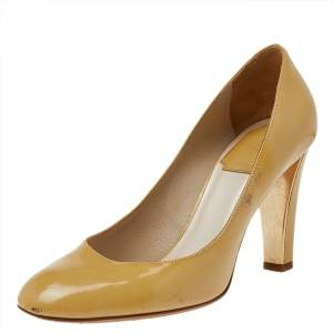 Dior Yellow Patent Leather Round Toe Pumps Size 37