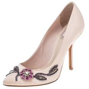 Dior Pink Satin Flower Crystal Embellished Pointed Toe Pumps Size 36.5