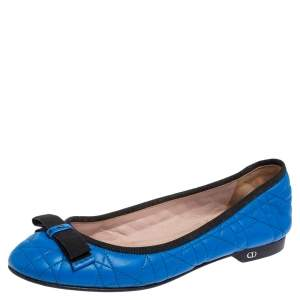 Christian Dior Blue Quilted Cannage Leather My Dior Ballet Flats Size 37.5
