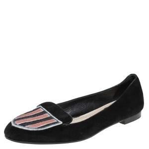 Dior Black Suede Sequin Embellished Flats Size 39