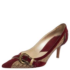Dior Burgundy/Beige Diorrisimo Canvas and Suede Buckle Pointed Toe Pumps Size 38