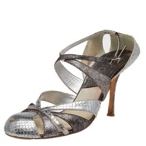 Dior Silver Python Embossed Leather Ankle Strap Sandals Size 40