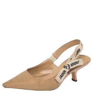 Dior Beige Canvas J'Adior Slingback Sandals Size 37.5