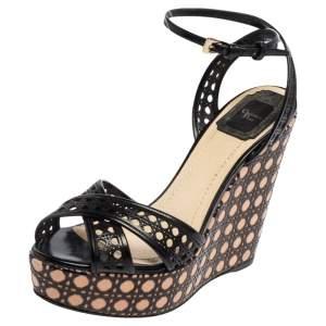 Dior Black Leather Cannage Cutout Ankle Strap Wedge Platform Sandals Size 38
