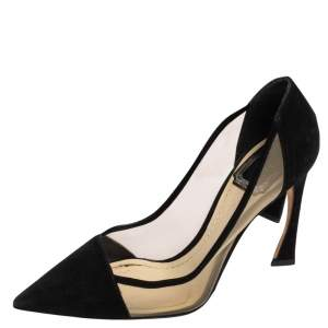 Dior Black Suede and Mesh Songe Pointed Toe Pumps Size 36