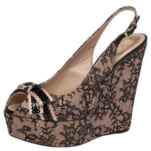 Dior Black/Beige Lace and Satin Bow Slingback Platform Wedge Sandals Size 41