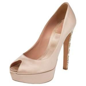 Dior Beige Satin Metal Cannage Heel Peep Toe Platform Pumps Size 37