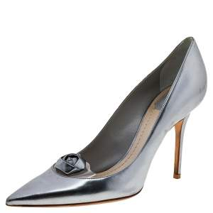 Dior Silver Leather Flower Embellished Pointed Toe Pumps Size 39