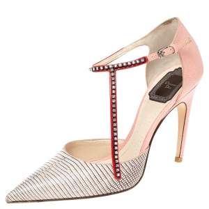Dior Beige/Pink Lizard Embossed Leather T Strap Pointed Toe Pumps Size 37.5