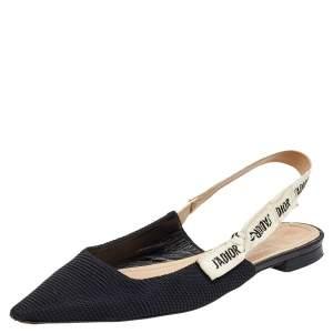 Dior Black Fabric J'adior Pointed Toe Slingback Flats Size 40.5