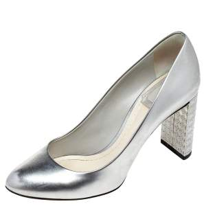 Dior Metallic Silver Leather Microcannage Block Heel Pumps Size 35.5