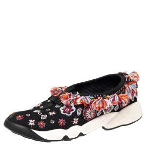 Dior Black Mesh Fusion Floral Embellished Slip On Sneakers Size 38