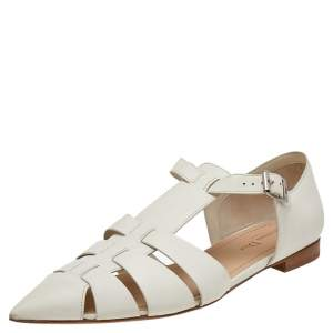 Dior Cream Leather Flat Sandals Size 40