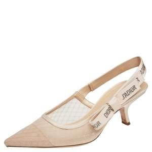 Dior Beige Lace J'Adior Slingback Sandals Size 40.5