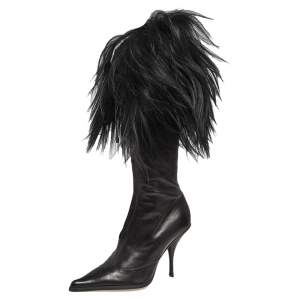 Dior Black Patent Leather and Faux Fur Knee Boots Size 38.5