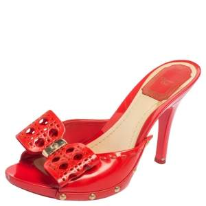 Dior Coral Red Patent Leather Open Toe Bow Clog Sandals Size 37