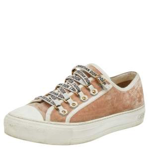Dior Beige Velvet And Canvas Trim Walk'N'Dior Low Top Sneakers Size 39