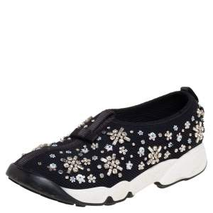 Dior Black Mesh Fusion Embellished Slip On Sneakers Size 37.5
