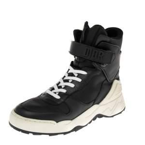 حذاء رياضي ديور جومبر جلد أبيض/أسود مرتفع من أعلى مقاس 37